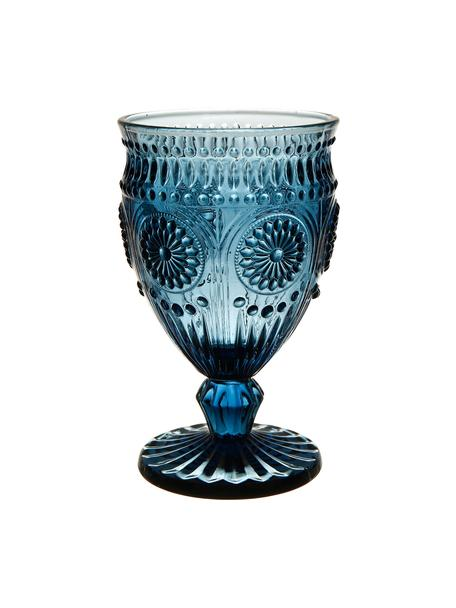 Bicchiere vino con motivo in rilievo blu Chambord 6 pz, Vetro, Blu, Ø 9 x Alt. 14 cm