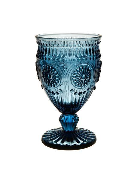Wijnglazen Chambord met reliëfpatroon in blauw, 6 stuks, Glas, Blauw, Ø 9 x H 14 cm