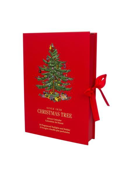 Waxinelichtenset Advent Calendar (dennenaalden, cederhout, appelsien), 24-delig, Doos: karton, Houder: glas, Rood, 24 x 34 cm