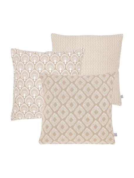 Set de fundas de cojïn Cousin, 3pzas., 100%algodón, Beige, blanco, An 45 x L 45 cm