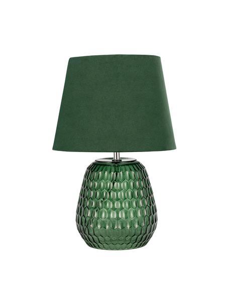 Tafellamp Crystal Velours met glazen voet, Lampenkap: fluweel, Lampvoet: glas, Groen, Ø 25 x H 37 cm