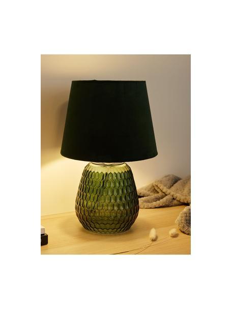 Lampada da comodino con base in vetro Crystal Velours, Paralume: velluto, Base della lampada: vetro, Verde, Ø 25 x Alt. 37 cm