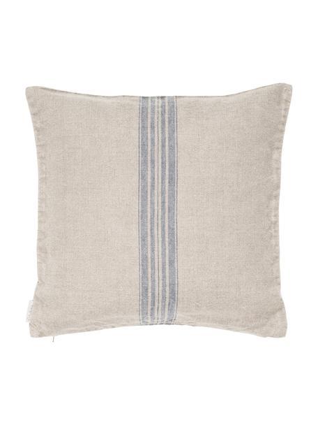 Beige linnen kussenhoes Jara met blauwe strepen, Beige, blauw, 40 x 40 cm
