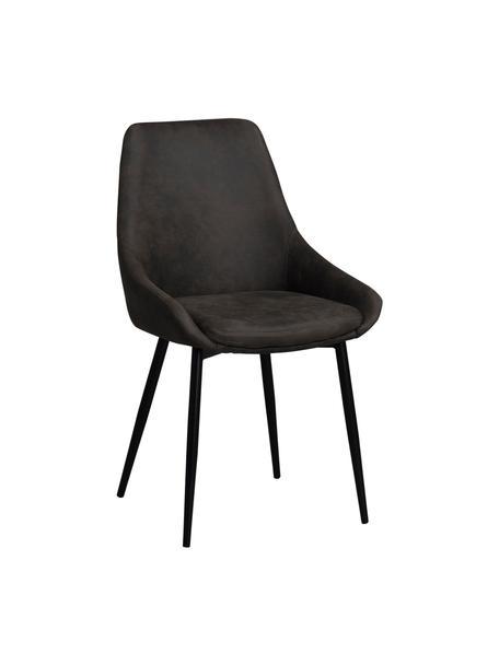 Kunstleren gestoffeerde stoelen Sierra, 2 stuks, Bekleding: polyester in suede-look, Poten: gelakt metaal, Kunstleer donkergrijs, Poten zwart, B 49 x D 55 cm