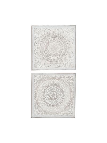 Handbemaltes Leinwandbild-Set Jabalon, 2-tlg., Leinwand, Mehrfarbig, 50 x 50 cm