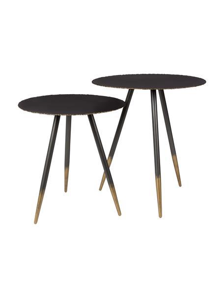 Set 2 tavolini rotondi Stalwar, Nero, oro, Set in varie misure