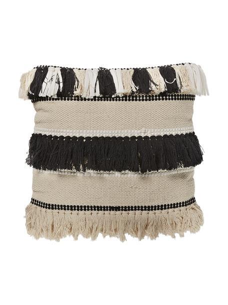 Boho Kissenhülle Franny mit Fransen, 100% Baumwolle, Weiß, Ecru, Schwarz, 45 x 45 cm