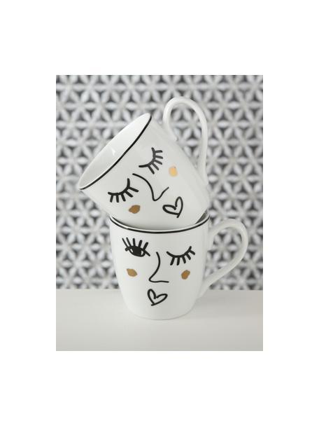 Tassen Glamy mit Motiv, 2er-Set, Porzellan, Weiß, Schwarz, Goldfarben, Ø 10 x H 10 cm