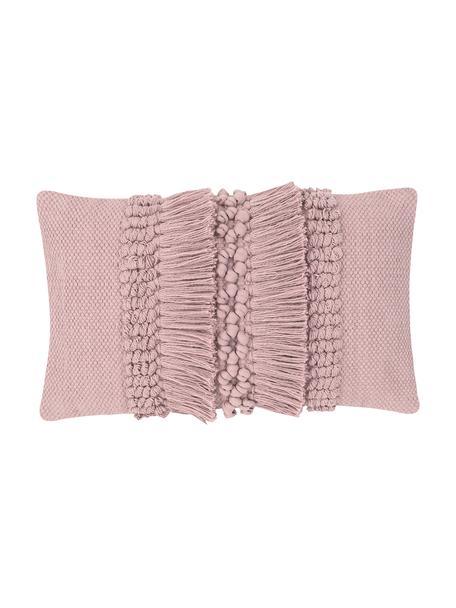 Poszewka na poduszkę z frędzlami Monika, 100% bawełna, Brudny różowy, S 30 x D 50 cm