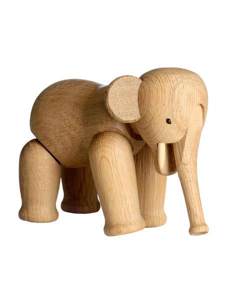 Figura decorativa de diseño Elephant, Madera de roble barnizada, Roble, An 17 x Al 13 cm