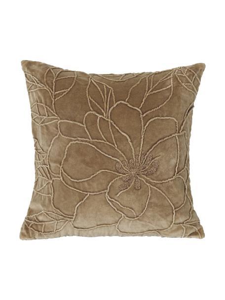 Samt-Kissen Flower mit Struktur-Muster und Stickerei, mit Inlett, Bezug: Polyestersamt, Braun, 45 x 45 cm