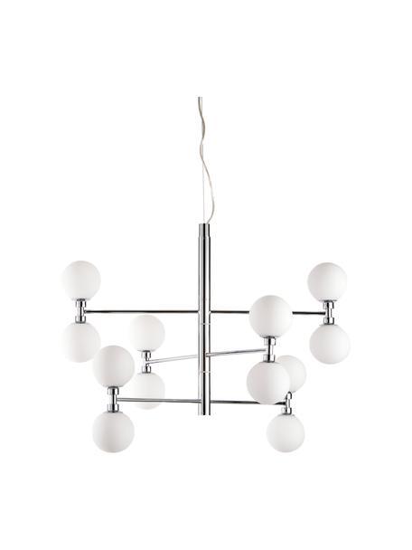 Lámpara de techo grande de cristal Grover, Anclaje: metal cromado, Cable: plástico, Cromo, Ø 70 x Al 56 cm