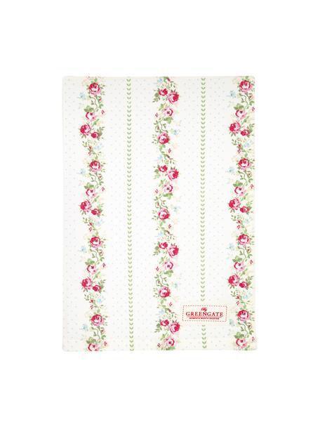 Strofinaccio in cotone con motivo a rose Gabby, Cotone, Bianco, verde, rosa, Larg. 50 x Lung. 70 cm