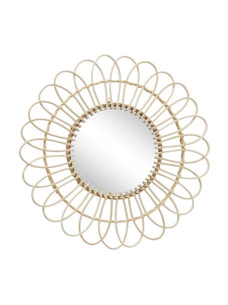 Okrągłe ręcznie wykonane lustro ścienne z ramą z włókna bambusowego Nariko, Beżowy, Ø 50 x G 5 cm