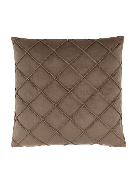 Fluwelen kussenhoes Luka in bruin met structuur-ruitpatroon, Fluweel (100% polyester), Beige, 40 x 40 cm