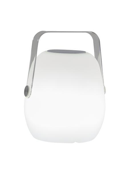 Mobile Dimmbare Außentischlampe Voice mit Lautsprecher und Farbwechsel, Lampenschirm: Kunststoff, Griff: Kunststoff, Dekor: Metall, Weiß, 18 x 23 cm