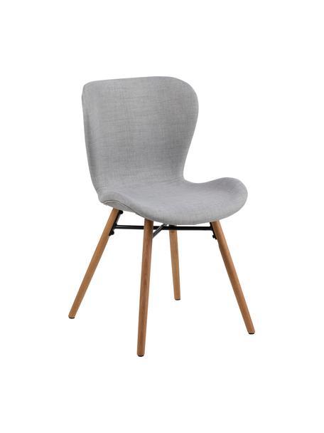 Gestoffeerde stoelen Batilda in lichtgrijs, 2 stuks, Bekleding: polyester, Poten: gelakt en geolied massief, Geweven stof lichtgrijs, B 56 x D 47 cm