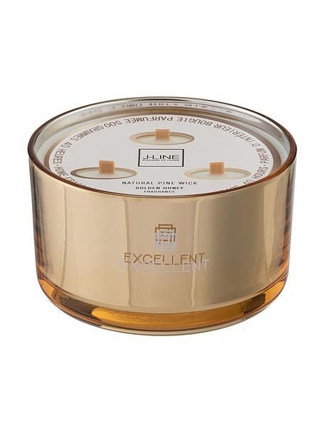 Świeca zapachowa z trzema knotami Excellent (Honig), Odcienie złotego, Ø 14 x W 9 cm