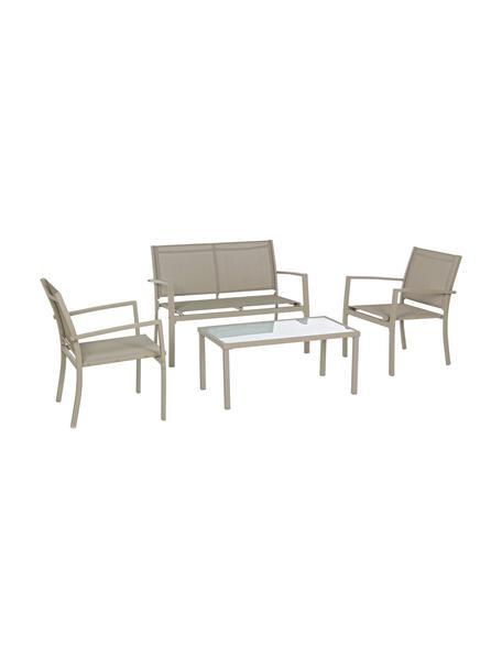 Set lounge de exterior Trent, 4pzas., Estructura: aluminio con pintura en p, Asiento: tela, Tablero: vidrio, Gris pardo, Set de diferentes tamaños