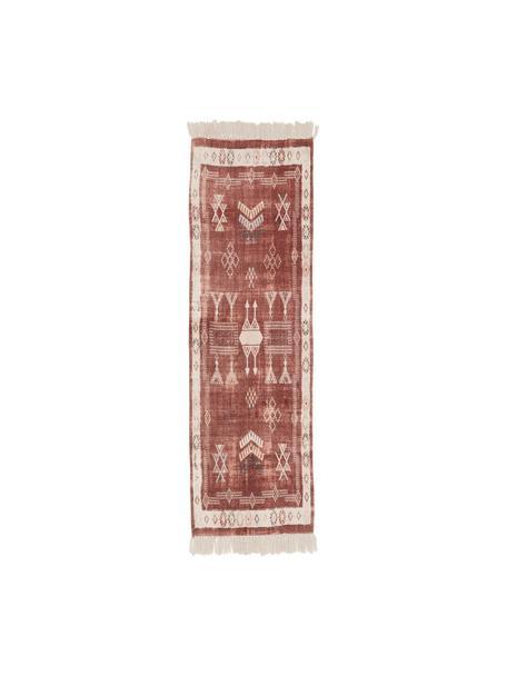 Alfombra de algodón con flecos Tanger, 100%algodón, Terracota, crema, An 60 x L 190 cm