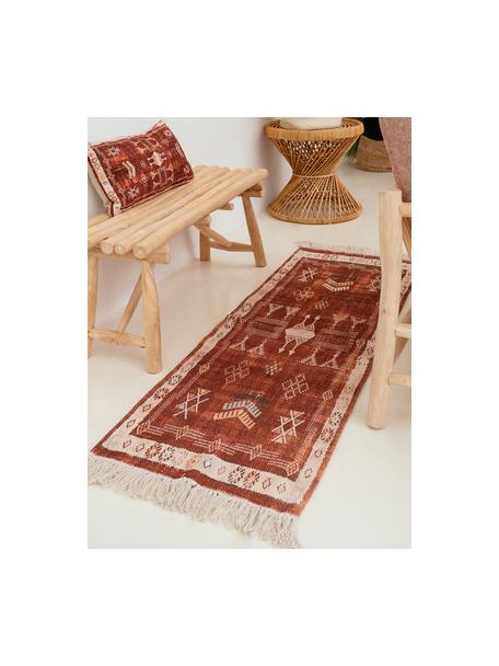 Katoenen loper Tanger met franjes, 100% katoen, Terracottakleurig, crèmekleurig, 60 x 190 cm