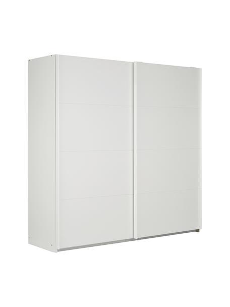 Kleiderschrank Mia mit 2 Schiebetüren in Weiß, Holzwerkstoff, beschichtet, Weiß, 225 x 210 cm
