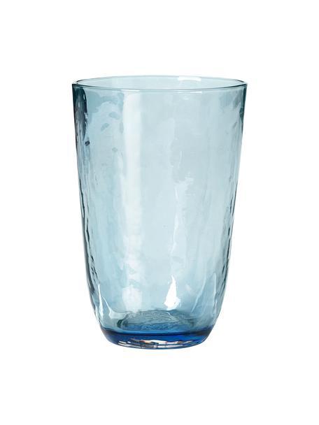 Bicchiere acqua in vetro soffiato irregolare Hammered 4 pz, Vetro soffiato, Blu trasparente, Ø 9 x Alt. 14 cm