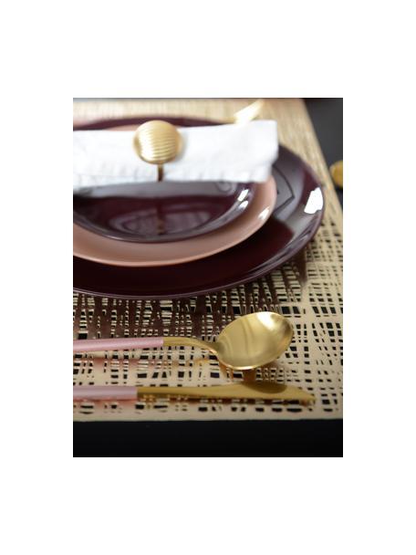 Messingkleurige bestekset Faina in mat, 6 personen (24-delig), Gecoat edelstaal 18/0, Messingkleurig, zwart, Set met verschillende formaten