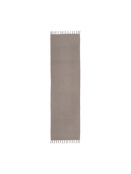 Dünner Baumwollläufer Agneta in Grau, handgewebt, 100% Baumwolle, Grau, 70 x 250 cm