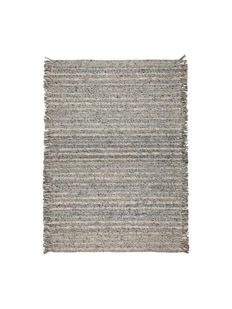 Wollen vloerkleed Frills in grijs/beige met franjes, 170 x 240 cm, Bovenzijde: 100% wol, Onderzijde: 100% katoen Bij wollen vl, Grijstinten, beige, B 170 x L 240 cm (maat M)