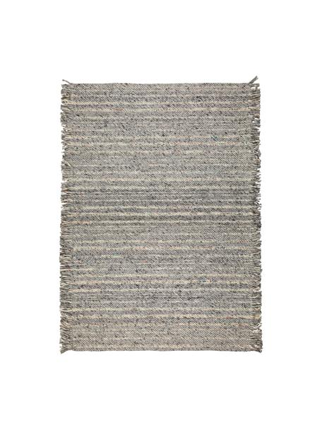 Wollteppich Frills in Grau/Beige mit Fransen, 170 x 240 cm, Flor: 100% Wolle, Grautöne, Beige, B 170 x L 240 cm (Größe M)