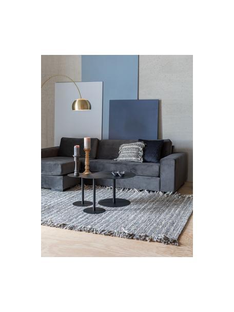 Tappeto in lana grigio/beige con frange Frills, Retro: 100% cotone Nel caso dei , Tonalità grigie, beige, Larg. 170 x Lung. 240 cm