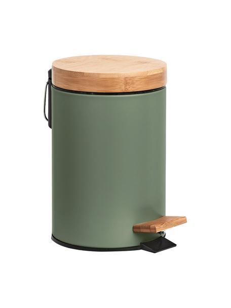 Afvalemmer Tallin, Deksel: bamboe, Groen, Ø 17 x H 24 cm