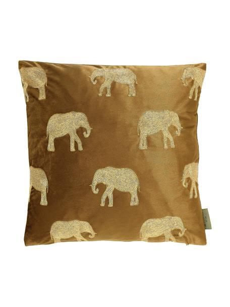 Gold besticktes Samt-Kissen Elephant in Braun, mit Inlett, 100% Samt (Polyester), Braun, Goldfarben, 45 x 45 cm