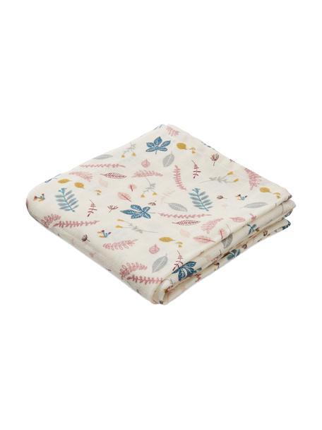 Pieluszka tetrowa z bawełny organicznej Pressed Leaves, 2 szt., 100% bawełna organiczna, Kremowy, blady różowy, niebieski, szary, S 70 x D 70 cm