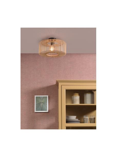 Lampada da soffitto in bambù Bromo, Paralume: bambù, Baldacchino: metallo rivestito, Beige, nero, Ø 40 x Alt. 18 cm