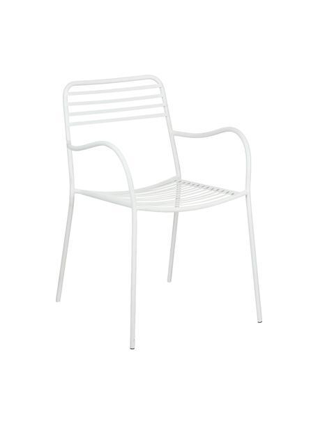Sillas con reposabrazos de metal Tula, 2uds., Metal con pintura en polvo, Blanco, An 50 x F 60 cm