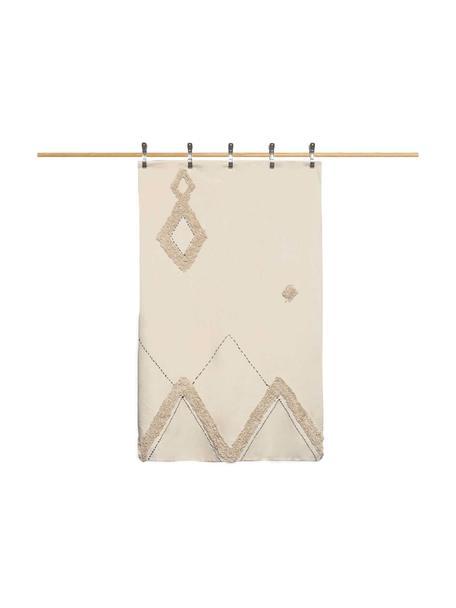 Tagesdecke Lienzo mit Hoch-Tief-Muster, Baumwolle, Cremeweiß, Braun, 270 x 280 cm