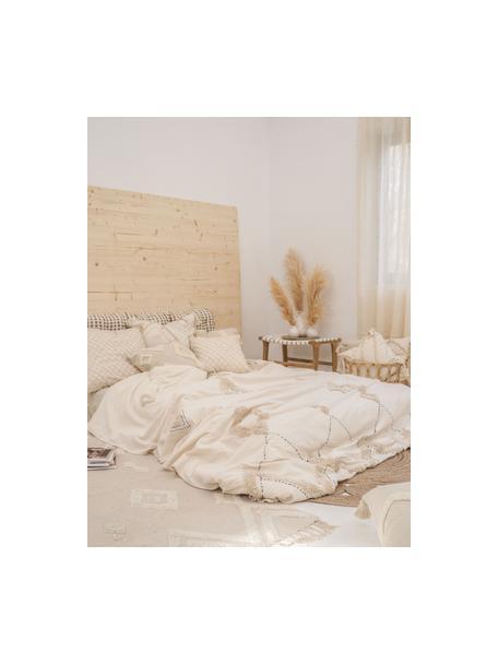 Copriletto in cotone con modello a rilievo Lienzo, Cotone, Bianco crema, marrone, Larg. 270 x Lung. 280 cm