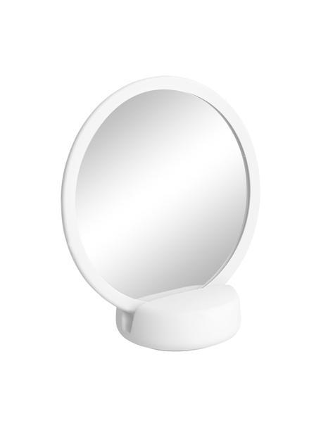 Kosmetikspiegel Sono mit Vergrößerung, Spiegelfläche: Spiegelglas, Rahmen: Keramik, Weiß, 17 x 19 cm