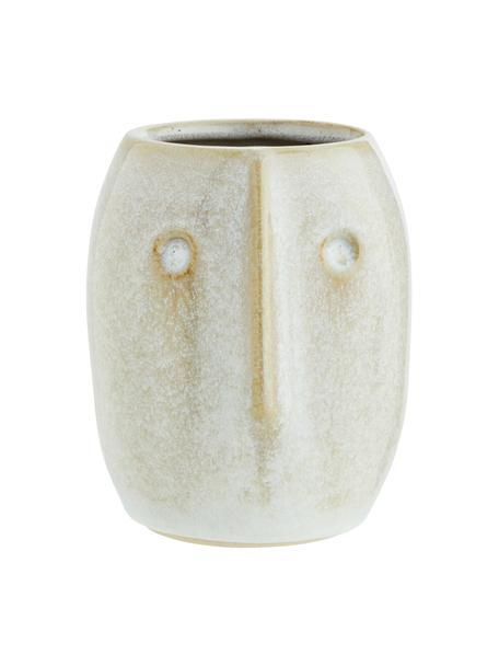 Portavaso in gres Face, Gres, Bianco, beige, Ø 8 x Alt. 10 cm