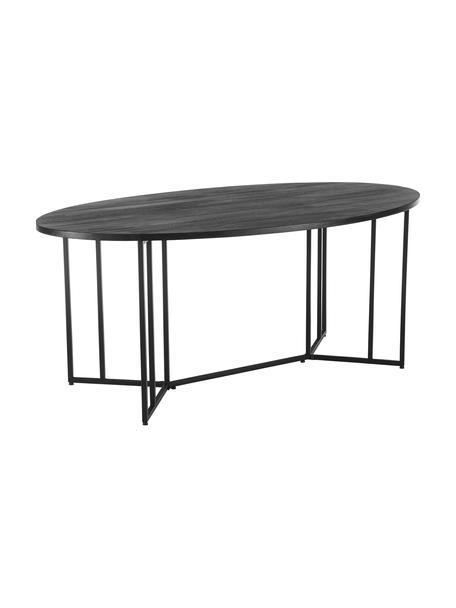 Ovaler Esstisch Luca mit Massivholzplatte, Tischplatte: Massives Mangoholz, gebür, Gestell: Metall, pulverbeschichtet, Mangoholz, schwarz lackiert, B 180 x T 100 cm