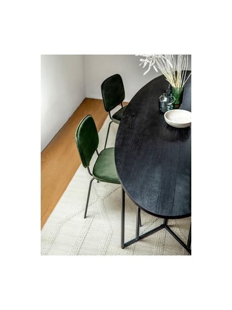 Tavolo ovale con piano in legno massiccio Luca, Struttura: metallo verniciato a polv, Legno di mango nero verniciato, Larg. 180 x Prof. 100 cm