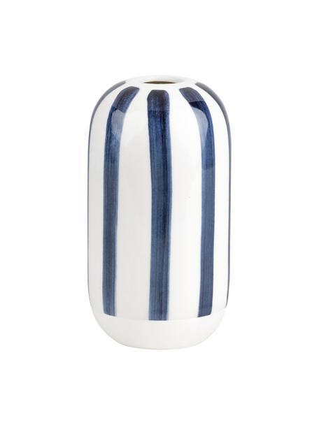 Vase Contrast aus Steingut, Steingut, Weiß, Dunkelblau, Ø 7 x H 13 cm