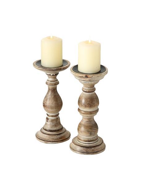 Komplet świeczników Manigifera, 2 elem., Drewno mangowe, Brązowy, Ø 10 x W 23 cm