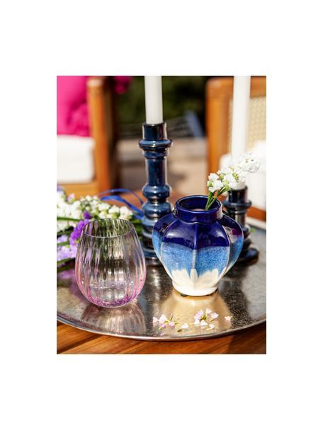 Ręcznie wykonany świecznik Dela, Kamionka, Ciemnyniebieski, Ø 8 x W 20 cm