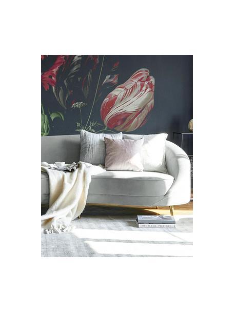 Fluwelen bank Gatsby (3-zits) in grijs, Bekleding: fluweel (polyester), Frame: massief eucalyptushout, Poten: gegalvaniseerd metaal, Fluweel grijs, B 245 x D 102 cm