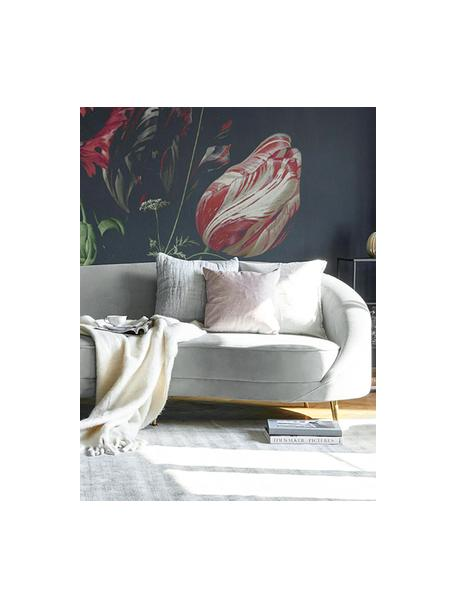 Samt-Nierensofa Gatsby (3-Sitzer) in Grau, Bezug: Samt (Polyester) 25.000 S, Gestell: Massives Eukalyptusholz, Samt Grau, B 245 x T 102 cm
