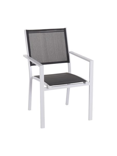 Krzesło ogrodowe Thais, Stelaż: aluminium powlekane, Biały, szary, S 69 x W 99 cm