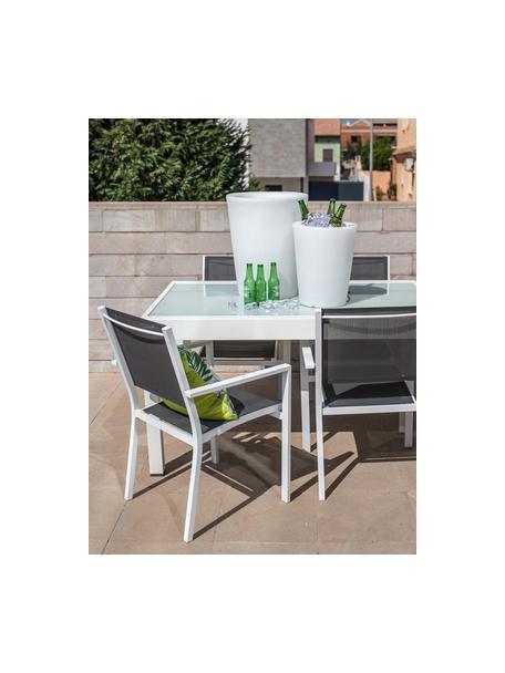 Sedia impilabile da giardino Thais, Struttura: alluminio rivestito, Bianco, grigio, Larg. 69 x Alt. 99 cm